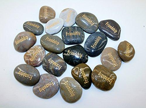 (CHOIS Wholesale Bulk Lot Big Inspirational Etched Word Stones Spirit of Encouragement Stone Angel (200P, Friendship))