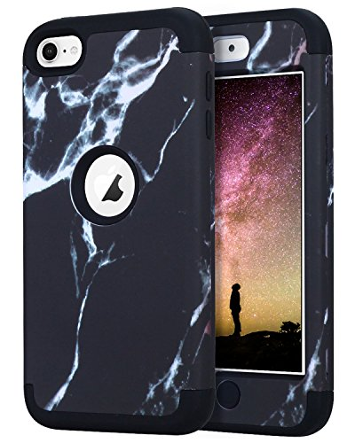 Black Free Ipod Touch - Dailylux iPod Touch 7 Case,iPod Touch 5 Case,iPod Touch 6 Case,3in1 Hybrid Impact Resistant Shockproof Hard Soft Silicone Protective Cover for Apple iPod Touch 5/6/7th Generation Girl/Boy-Marble Black