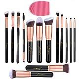 Makeup Brushes 14 Piezas, Conjunto de Brochas Maquillaje, Pincel de Base Sintético Premium, Maquillaje en Polvo para la Cara, Corrector de Rubor, Kit de Pinceles para Sombras de Ojos (Oro Rosa)