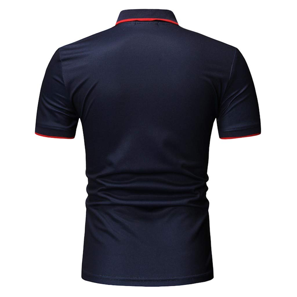 Mens Workout T-Shirts Slim Contrast Color Stitching Stripe Short Sleeve Casual Gym Fitness Clothes