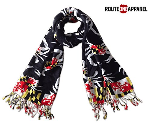 Route One Apparel | Women's Maryland Flag Crab Pattern Scarf (Black) (Maryland Crab Houses)