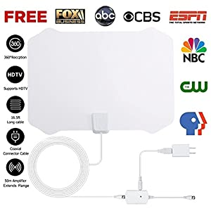 2018 NEWEST TV Antenna,Indoor Amplified Digital HDTV Antenna 50+ Mile Range with 4K 1080P HD VHF UHF Freeview TV for Life Local Channels Broadcast for All Types of Home Smart Television (Black)