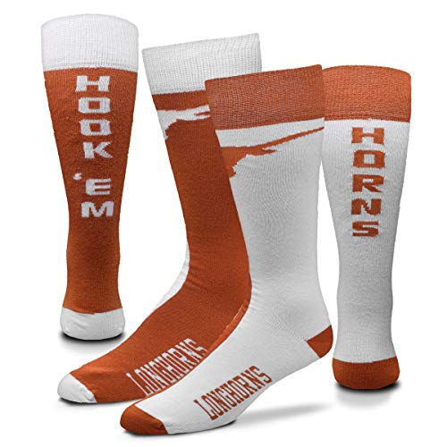 For Bare Feet Men's NCAA Big Top Mismatch Crew Dress Socks- 1 Pair- Size (Large 10-13). (Texas Longhorns-White)