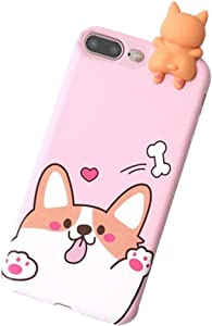 iPhone 8/7 Plus 3D Animal Cell Phone TPU Case Cute Welsh Corgi Peeking on Top Slim Flexible Crystal Silicone Protective TPU Gel Skin Case Cover for iPhone 8/7 Plus(iPhone 8 Plus/7 Plus, Corgi Pink)