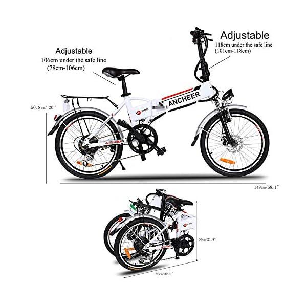 """BIKFUN Bicicletta Elettrica Pieghevole, Bici Elettriche 20"""", Motore 250W Batteria 36V 8Ah, Shimano a 7 velocità 3 spesavip"""