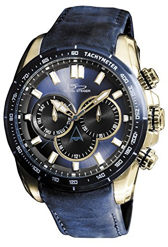 Daniel Steiger Graphite Blue Luxury Men's Watch With Nubuck Leather Strap - Gold Plated Premium Grade Stainless Steel - 100M Water Resistant - Tachymeter - Day & Date Calendar