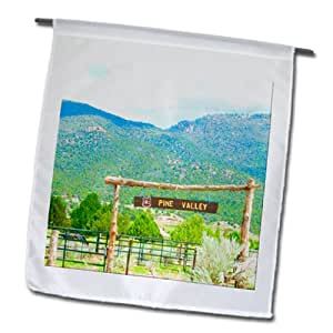 Jos Fauxtographee Realistic - A sign between two posts that says Pine Valley near Dixie National Forest - 18 x 27 inch Garden Flag (fl_64452_2)