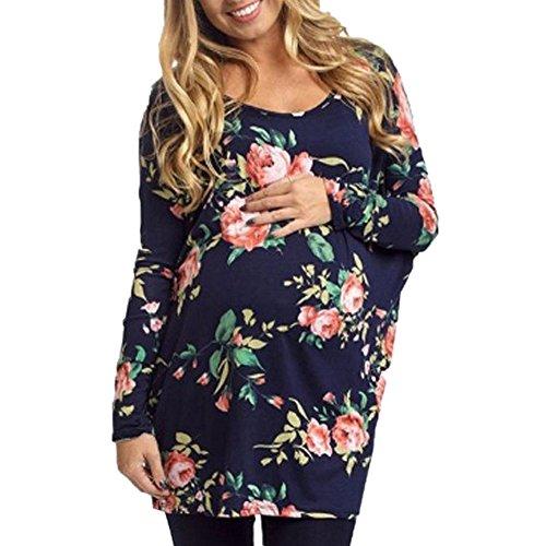 ff1f5488502 Handyulong Women Maternity Clothes Clearance Long Sleeve Floral Print  Motherhood Pregnancy Shirts Tunic Tops Blouse (