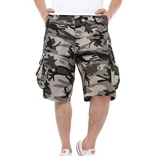 Just No Logo Men's Cotton Loose Fit Camouflage Camo Cargo Shorts(Grey Camo,US W36/Tag Szie W38)