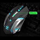 Wireless Gaming Mouse, VEGCOO C9 Silent Click Wireless Rechargeable Mouse with Colorful LED Lights and 2400/1600/1000 DPI, 1000mAh Lithium Battery for Laptop and Computer (Black)