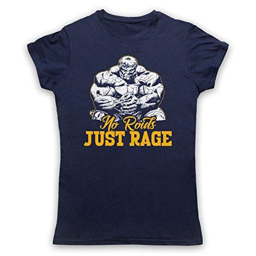 No Roids Just Rage Bodybuilding Culture Slogan Camiseta para Mujer Azul Marino