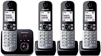 Panasonic KX-TG6824GB - Teléfono (120 entradas, LCD, 103 x 65 Pixeles, Monocromo, 107 x 77 x 86 mm, 46 x 160 x 30 mm) [Importado de Alemania] [versión importada]