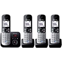 Panasonic KX-TG6824GB DECT-Schnurlostelefon (4,6 cm (1,8 Zoll) Grafik-Display) mit Anrufbeantworter schwarz