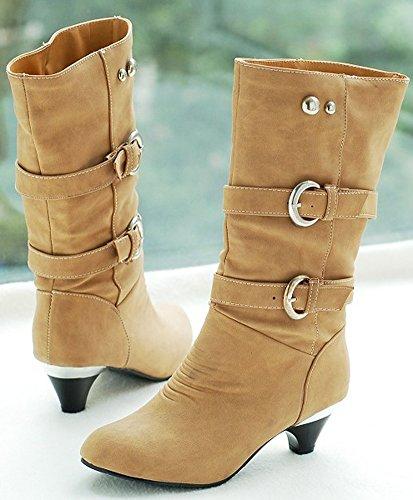 ShallGood Femme Hiver Sexy Chaudes Bottes Bottines Talon haut Chaussures Footwear Chaussures Longue Boots Kaki nvRMCCSpf