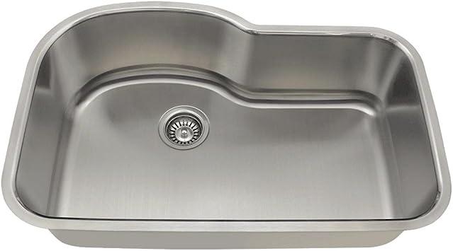 346 16 gauge undermount offset single bowl stainless steel kitchen sink