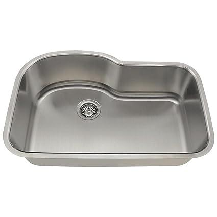 346 16-Gauge Undermount Offset Single Bowl Stainless Steel Kitchen ...