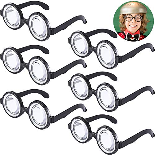 Plastic Nerd Glasses Bulk (Round Nerd Glasses Magic Plastic Black Frame Nerd Glasses for Costume Party Favors (6)