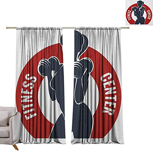 berrly Thermal Insulated Drapes Fitness,Fitness Center Emblem Like Design Woman Silhouette Working Out Stay Young, Dark Blue Red White W96 x L84 Art Grommet Curtains for Girls Room