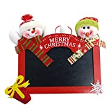 SUKEQ Merry Christmas Hanging Sign Wooden Square Blackboard Wall Door Decoration Hanging Tags for DIY Xmas Tree Door Decor (Red)