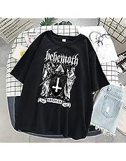 Vrouw T-shirts Goth Y2k Harajuku Tops Halloween Print Diablo losse korte mouw Kawaii Anime Grafische T-shirt Top