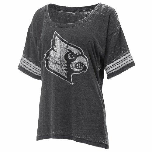 Ouray Sportswear NCAA Louisville Cardinals Women's Crush Football Jersey Tee, Charcoal, Large