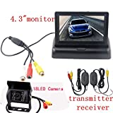 4.3 Inch TFT LCD Car Reverse Rearview Foldable Color Monitor +Back up Wireless Waterproof 18 Ir Infrared Night Vision Camera Kits
