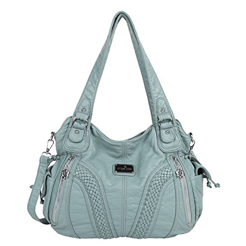 9fff1d8a67 Angelkiss Women Top Handle Satchel Handbags Shoulder Bag Messenger Tote  Washed Leather Purses Bag (Green