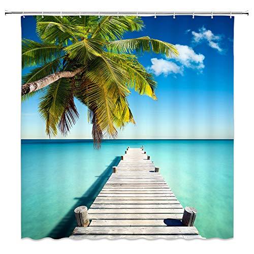 (Feierman Ocean Shower Curtain Blue Decor Tropical Palm Tree Wooden Bridge Bathroom Curtain Decor Machine Washable with Hooks 70x70Inches )