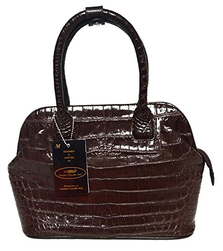 (Authentic M Crocodile Skin Womens Belly Leather Clutch Bag Hobo Tote Brown Handbag)