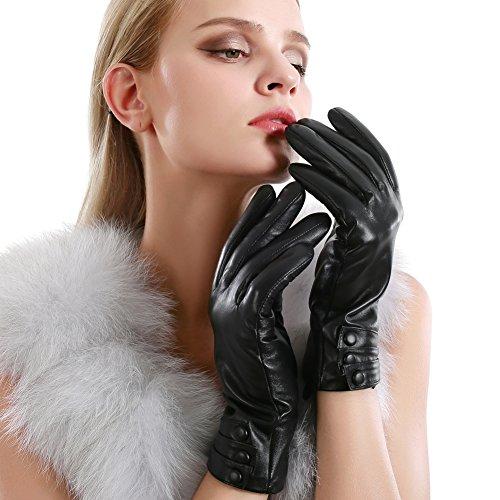 Women Touchscreen Leather Gloves Sheepskin Cashmere Lining Winter Warm Driving ()