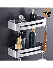 Hawsam No Drilling Shower Corner Shelf - Aluminum 2 Tier Bathroom Shelves Caddy Adhesive Storage Basket