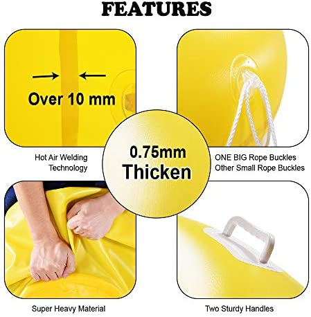HIWENA Super Heavy Duty Snow Tube, Inflatable Snow Sled for Kids and Adults, Thicken 0.75mm Thick Material Winter Sport Tube
