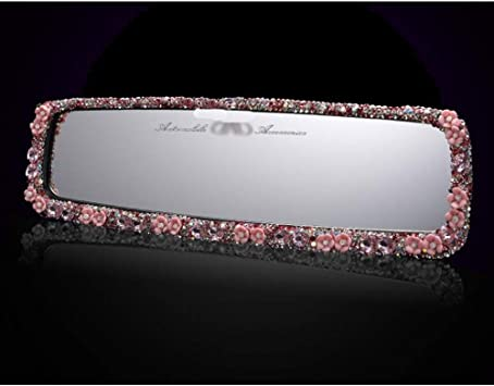 Pink Siyibb Bling Car Rearview Mirror Diamond Decoration