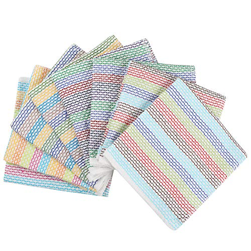 Lifaith Kitchen Dish Cloths 100% Cotton Tea Towels, Soft and Absorbent, Everyday Kitchen Basic, Machine Washable Kitchen Dishcloths 13 x 13 Inch Set of 8 Multi Colors
