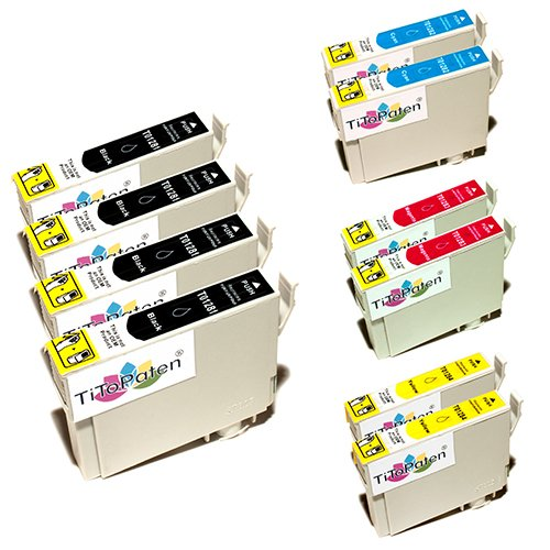 10x Epson Stylus SX 125 kompatible XL Druckerpatronen - 4xSchwarz-2xCyan-2xMagenta-2xGelb - Patrone MIT CHIP !!!