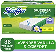 Swiffer Sweeper Wet Mopping Cloth Multi Surface Refills, Febreze Lavender Vanilla & Comfort Scent, 36 c