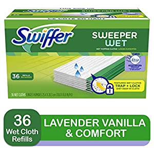 picture of Swiffer Sweeper Wet Mopping Cloth Multi Surface Refills, Febreze Lavender Vanilla & Comfort Scent, 36 count