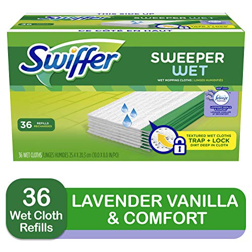 Swiffer Sweeper Wet Mopping Cloth Multi Surface Refills, Febreze Lavender Vanilla & Comfort Scent, 36 count,swiffer