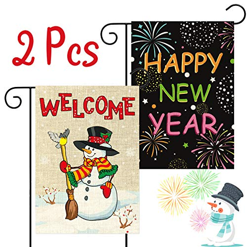 WATINC 2Pcs Garden Flag for Happy New Year Welcome Winter Holiday Decorations Fireworks Christmas Snowman Double Sided Burlap Home Decorative Seasonal House Flags for Outdoor Yard 12.4 x 18.2 Inch