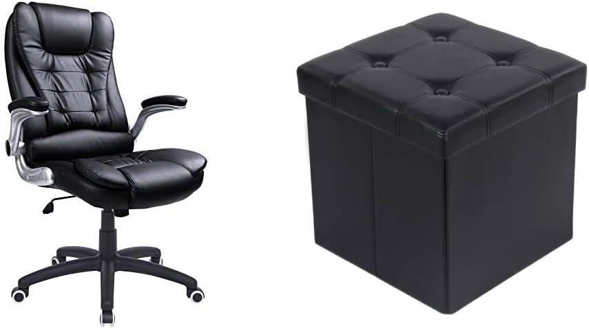 schwarz schwarz OBG51B /& Sitzbank mit Stauraum belastbar bis 300 kg 38 x 38 x 38 cm SONGMICS Racing Stuhl B/ürostuhl Gaming Stuhl Chefsessel Drehstuhl PU LSF30B Kunstleder