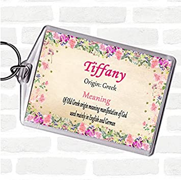 5db419595280a7 Tiffany Name Meaning Bag Tag Keychain Keyring Floral: Amazon.co.uk: Office  Products