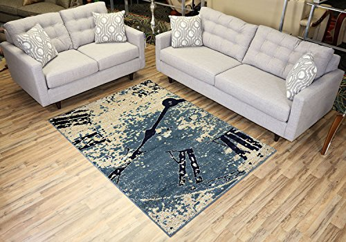 Studio Collection Vintage Clock Abstract Design Area Rug Rugs (Navy Blue /  Teal Blue / Off White / Beige, 5x7)