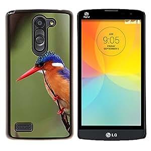 Caucho caso de Shell duro de la cubierta de accesorios de protección BY RAYDREAMMM - LG L Bello L Prime - plumas tropical pájaro cantor pico verde