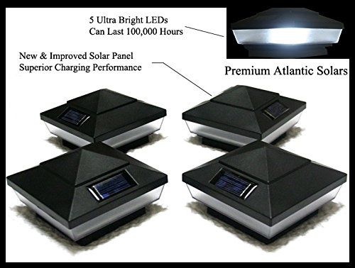 8-Pack Garden Solar Black Deck Post Cap Square Fence Lights for 4'' x 4'' PVC Post with Frosted Lens -GREEN NATURAL SOLAR