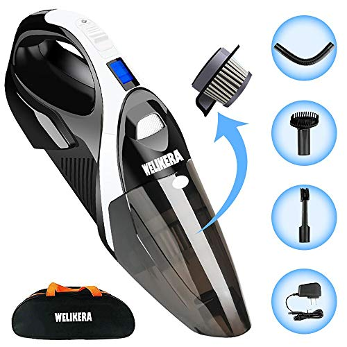 Handheld Vacuum Cordless,WELIKERA 12V 5000PA Portable Hand Vacuum Cleaner, Strong Suction Rechargeable Cordless Vacuum Cleaner with Quick Charge Hand Held Vac for Home Car Pet Hair