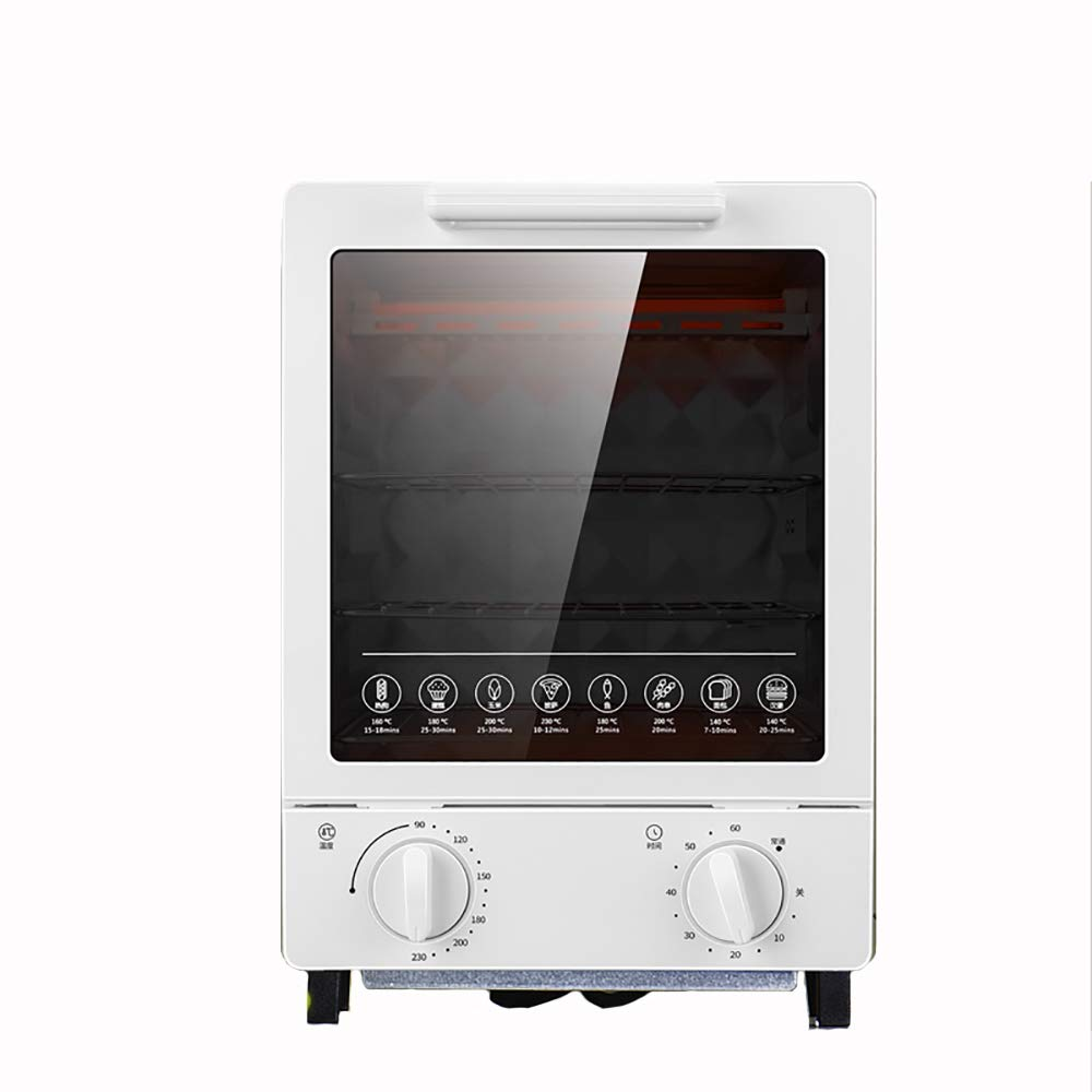 Mini Oven Electric Cooker and Grill - 12L Fast Heating Toaster Ovens at 230°C with Timer Rack & Baking Tray - Small Enough for Table Top Use - 800W (White)