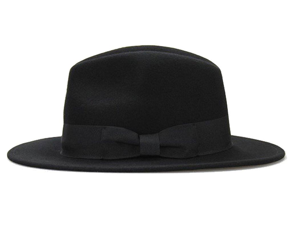 Big bowknot Wide-Brimmed 100% Wool Felt Hat Women's Jazz Cap Cowboy Hat Fedora Hat 4Color by Vitality Shop (Image #2)