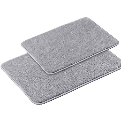 Memory Foam Bath Mat Non Slip Absorbent Super Cozy Velvety Bathroom Rug Carpet (Grey 2 Pack 20×32 and 17×24-Inches)