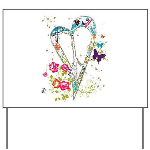 Yard Sign Flowered Butterfly Heart Peace Symbol