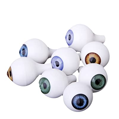 8 Pcs Yeux de Poupée Acryliques Ronds Globes Oculaires Props Halloween 20mm